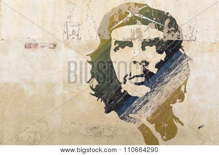 Che Guevara wall painting in Cuba
