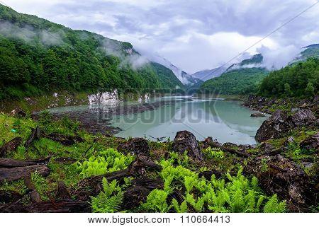 Panorama Of Beautiful Landscape With A Lake Amtkel In Abkhazia