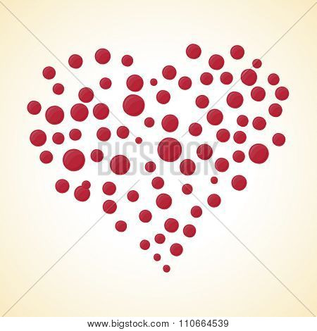 Valentines day postcard dots heart