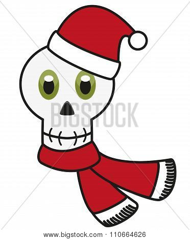 Isolated Avatar Of Skull In Festive Christmas Apparel