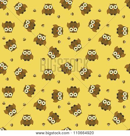 Seamless Cartoon Owl Pattern