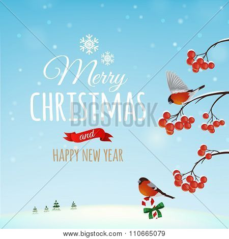 Christmas Greeting Card, Poster. Bullfinch Bird On A Background Of A Winter Landscape