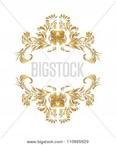 Vector golden floral pattern.
