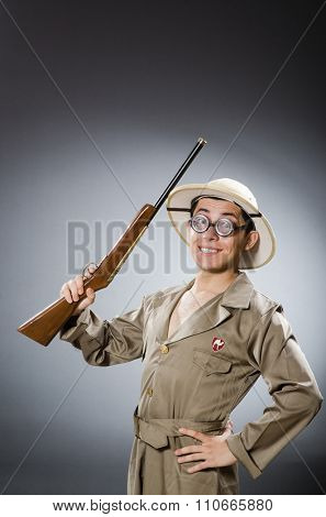 Funny hunter in hunting concept