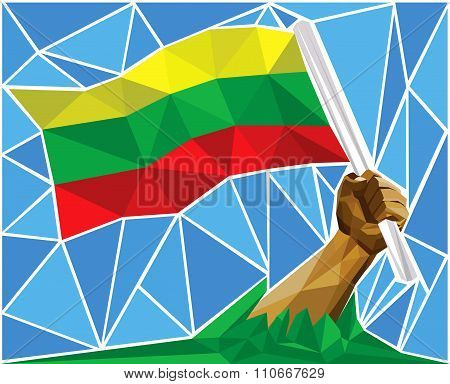 Patriotic Powerful Man Arm Raising The National Flag Of Lithuania