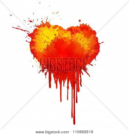Vector  Watercolor blood heart illustration on white background.
