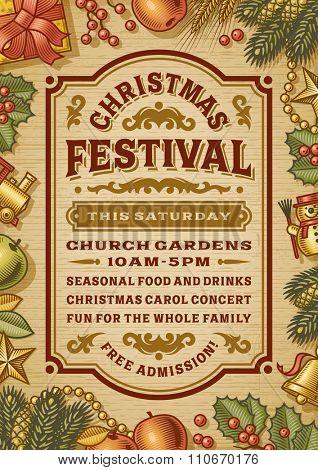 Vintage Christmas Festival Poster