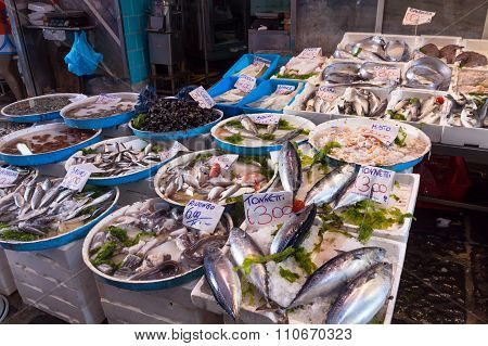 Typical Outdoor Italian Fish Market With Fresh Fish And Seafood, Naples, Italy