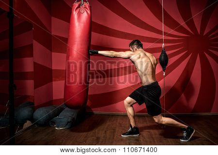 Portrait of boxer training with gloves and shirtless. Boxing Training
