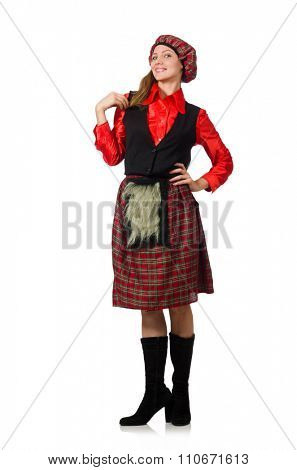 Funny woman in scottish clothing on white