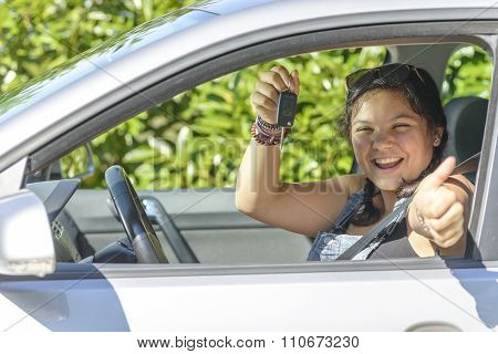Girl Has Driving License, Sitting In His Car