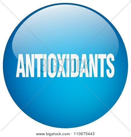 Antioxidants Blue Round Gel Isolated Push Button