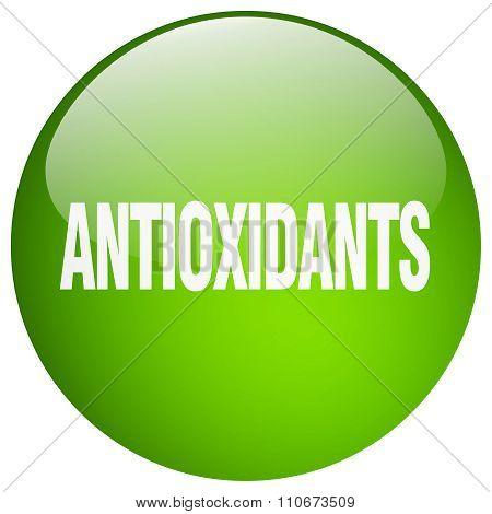 Antioxidants Green Round Gel Isolated Push Button