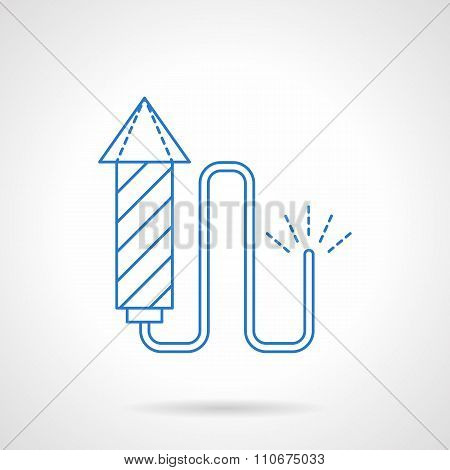 Blue flat line fireworks vector icon