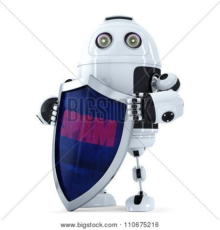 Robot with the shield. Spam protection concept. Isolated over white.