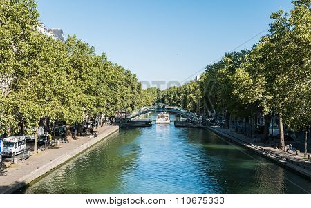 Canal Passenger Boat On The Canal Saint Martin, Paris