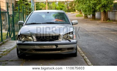 Damaged car after the accident