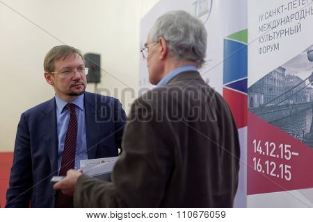 ST. PETERSBURG, RUSSIA - DECEMBER 3, 2015: Deputy Minister of culture of Russia A. Zhuravsky (left) during the press conference devoted to preparations for St. Petersburg International cultural forum