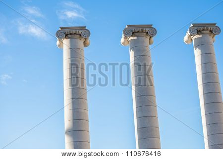 Barcelona, Spain - March 27, 2015: The Columns Part Of The Mnac