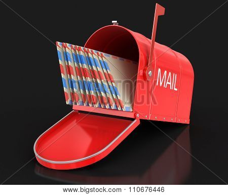 Open mailbox with letetrs. Image with clipping path