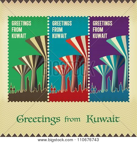 Three Vintage Style Postage - Greetings From Kuwait - The Water Towers Landmark