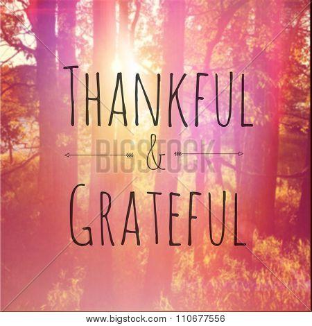 Inspirational Typographic Quote - Thankful & Grateful