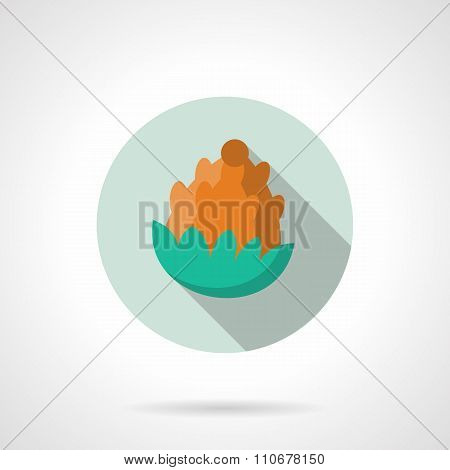 Flat color fir cone round vector icon