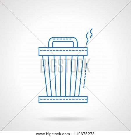 Blue flat line trash can vector icon
