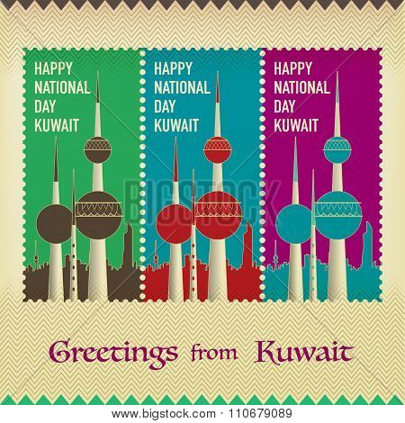 Three Vintage Style Postage Stamps - Happy National Day Kuwait Towers