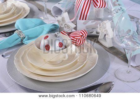 Aqua, Red And White Christmas Table Setting.