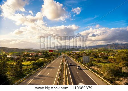 Highway Road In Nicosia, Cyprus