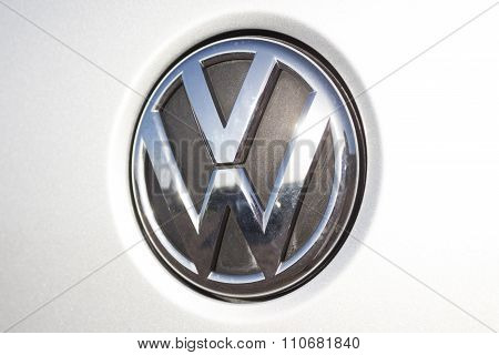 Wolfsburg, Germany, November 19, 2015: Volkswagen Logo, Vw Is Cheating In Tests For Pollution And Em