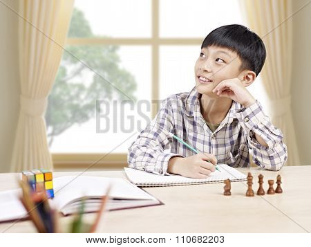 Asian Schoolboy Studying At Home