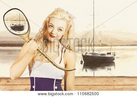 Retro Pin Up Sailor Woman With Nautical Periscope