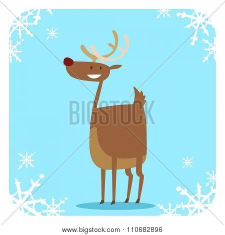 Santa Claus happy cartoon Christmas deer flat icon. Reindeer vector art flat illustration. Deer animal isolated. Reindeer vector symbol. Reindeer silhouette. Deer icon isolated on Christmas greeting