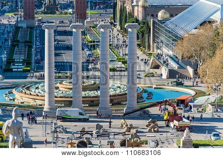 BARCELONA, SPAIN - MARCH 27, 2015: Aerial View on Placa Espanya, four columnes.  Famous place with modern architecture buildings cultural and touristic landmark in the Spanish second largest city