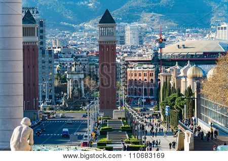 BARCELONA, SPAIN - MARCH 27, 2015: Aerial View on Placa Espanya, Venetian towers.  Famous place with modern architecture buildings cultural and touristic landmark in the Spanish second largest city