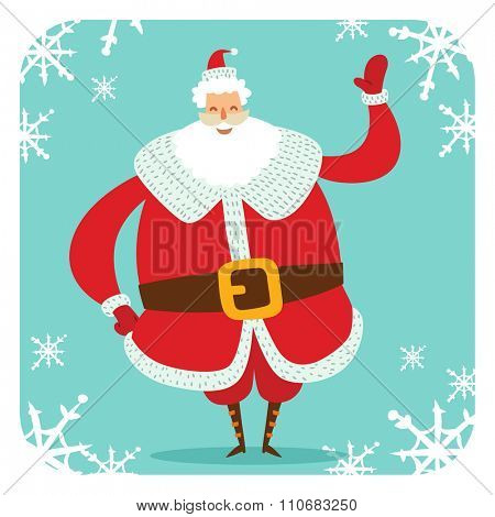 Santa Claus vector illustration. Santa Claus cartoot old man with red hat. Santa Claus traditional costume. Santa Claus illustration. Santa Claus stay, smile face. Christmas Santa Claus
