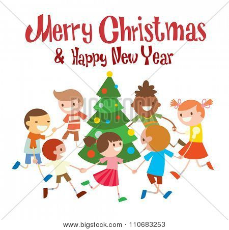 Children round dancing Christmas tree in baby club illustration. Childhood, cartoon, fun and Christmas party. Kids dance around Christmas tree.  Roundelay baby dance party. Fun, smile, boys and girls