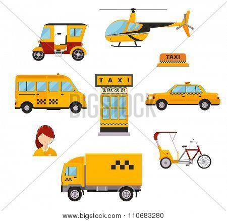 Different types of taxi transport: cars, helicopter, van truck, bike and motorcycle. Taxi vector illustration. Taxi cars. Taxi city service girl manager. Taxi transport. Passengers taxi and delivery