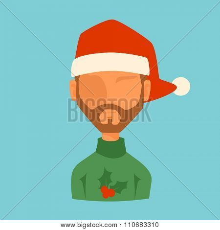 Man Christmas Santa red hat avatar face icon vector illustration. Man cartoon people. Christmas traditional costume. Man silhouette isolated. Santa Claus helper. Christmas man avatar face icon