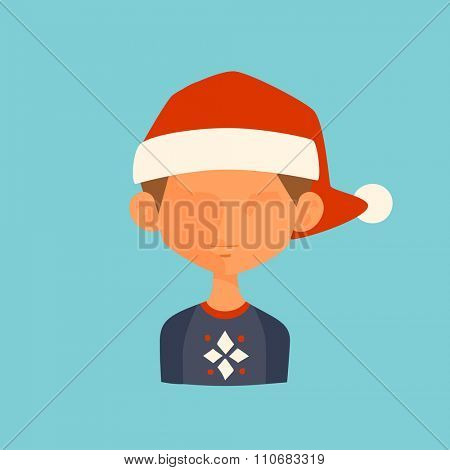 Boy Christmas Santa red hat avatar face icon vector illustration. Boy cartoon people. Christmas traditional costume. Boy silhouette isolated. Santa Claus helper. Christmas boy avatar face icon