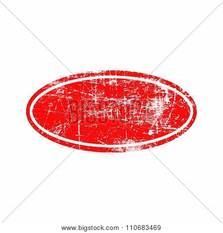 Illustration Vector Red Ellipse Grunge Rubber Texture Stamp With White Border.