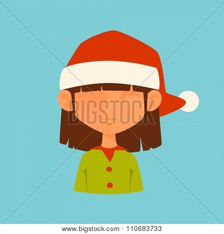 Girl Elf Christmas Santa red hat avatar face icon vector illustration. Girl elf cartoon people. Christmas traditional costume. Girl elf silhouette isolated.Santa helper. Christmas elf avatar face icon