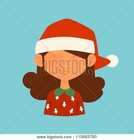 Girl Christmas Santa red hat avatar face icon vector illustration. Girl cartoon people. Christmas traditional costume. Girl silhouette isolated. Santa Claus helper. Christmas woman avatar face icon