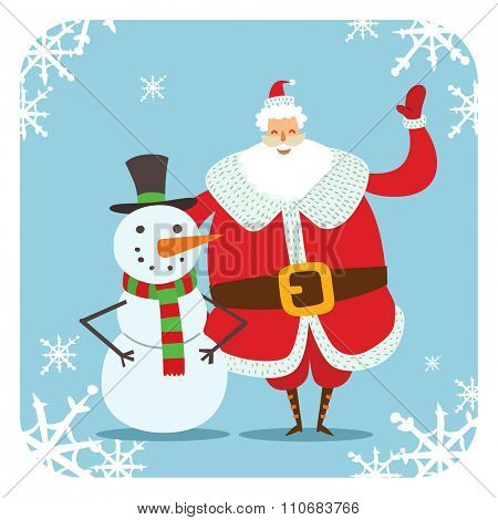 Santa Claus and snowman vector illustration. Santa Claus red hat, cartoot snowman . Santa Claus traditional costume. Snowman illustration. Santa Claus snowman smile face. Snowman vector illustration