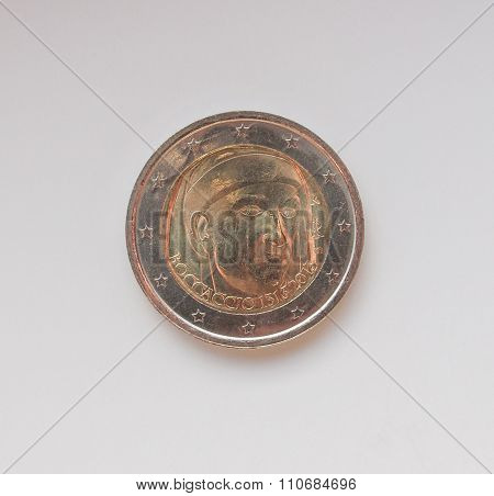 Two Euro Coin Bearing The Portrait Of Giovanni Boccaccio