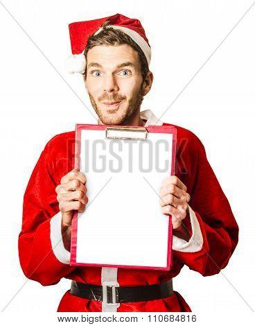 Isolated Santa Holding Christmas Wish List