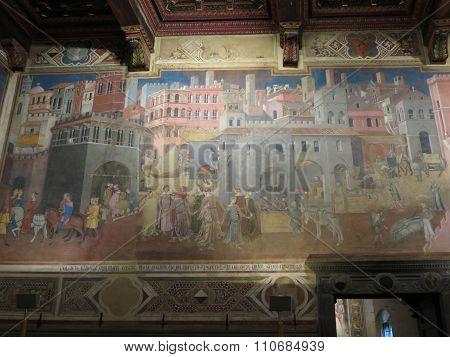 Ambrogio Lorenzetti Frescoes In Siena