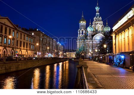 Church Of The Savior On Spilled Blood (cathedral Of The Resurrection Of Christ) In St. Petersburg, R